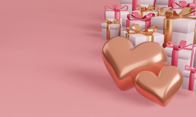 Caixa de presente e coração com conceito de design minimalista