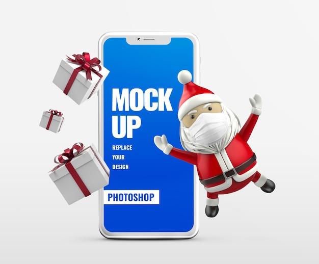 Caixa de presente e maquete de publicidade móvel do papai noel