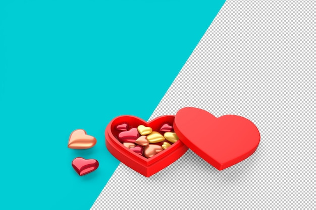 Caixa de presente em forma de coração vermelho cheia de pequenos corações em renderização 3d