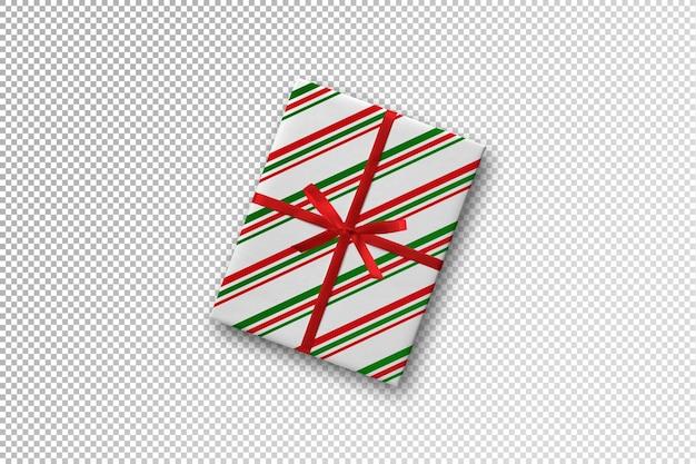 Caixa de presente embrulhada com maquete de papel com padrão de linha
