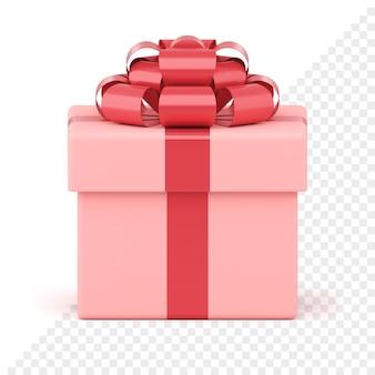 Caixa de presente festiva rosa. pacote criativo com fita vermelha e laço luxuoso. apresente surpresa para eventos de ano novo e férias de inverno. objeto isolado para banner de venda ou design de cartão de felicitações.