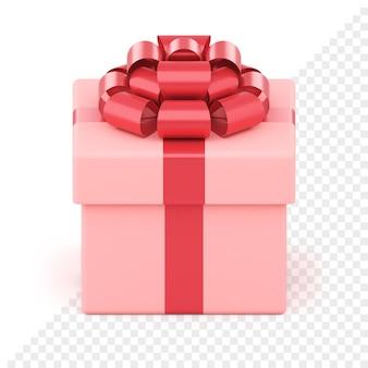 Caixa de presente festiva rosa. pacote criativo com fita vermelha e laço luxuoso