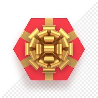 Caixa de presente hexagonal vermelha e vista superior em arco dourado
