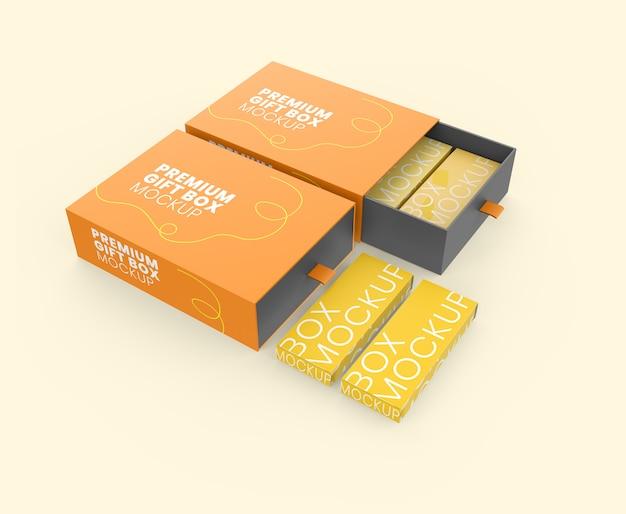 Caixa de presente premium com maquete de caixa pequena
