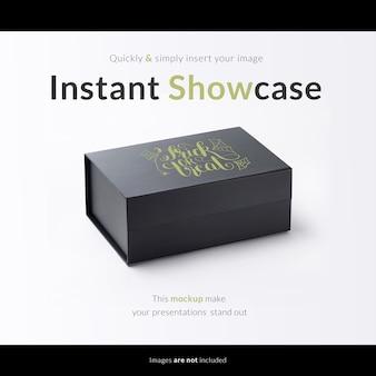 Caixa de presente preta com maquete