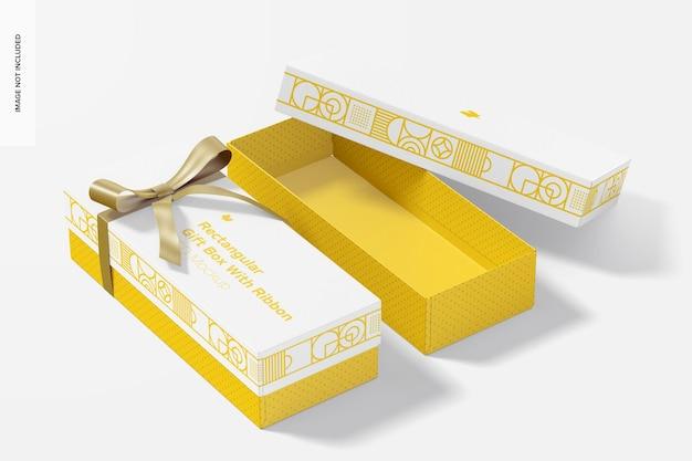 Caixa de presente retangular com modelo de fita, aberta e fechada
