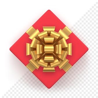 Caixa de presente vermelha realista com laço dourado