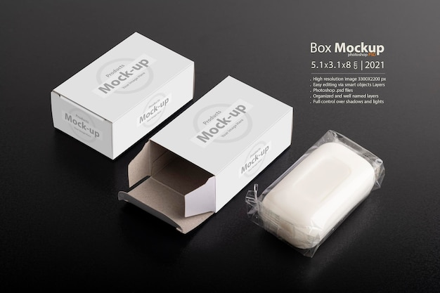 Caixa de sabonete aberta na superfície preta, série de mock-up psd editável com modelo de camadas de objeto inteligente pronto para seu design