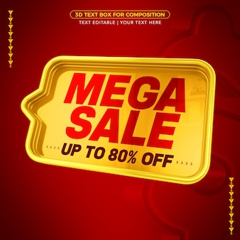 Caixa de texto com texto de mega venda com 80% de desconto