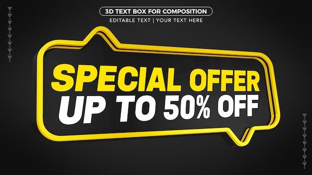 Caixa de texto de oferta especial d preta e amarela com desconto na renderização 3d