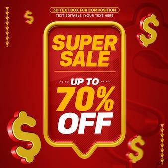 Caixa de texto vermelha e amarela com texto editável de super venda com 70% de desconto