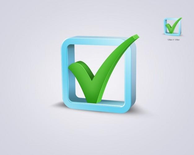 Caixa de verificação de validação verde psd