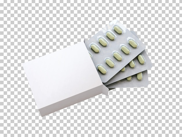 Caixa em branco com bolha de drogas