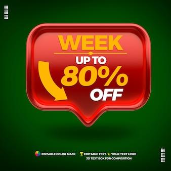Caixa vermelha para edição de texto promocional semana 80% de desconto