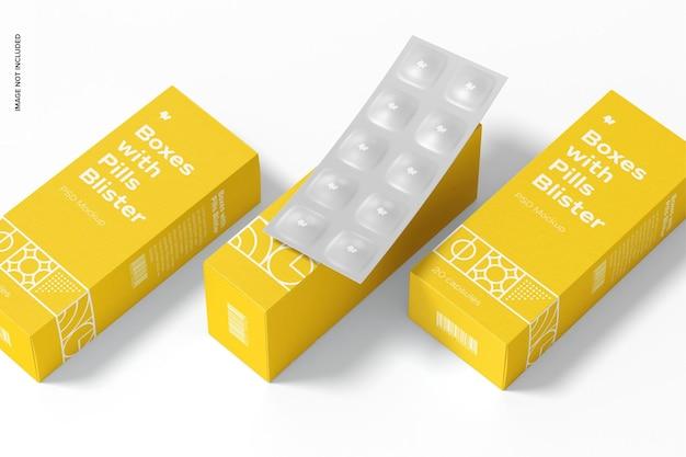 Caixas com pílulas blister set mockup