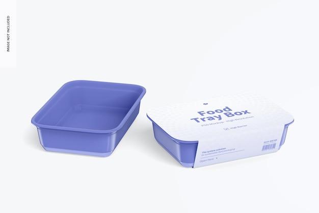 Caixas de bandejas de alimentos com maquete de etiqueta