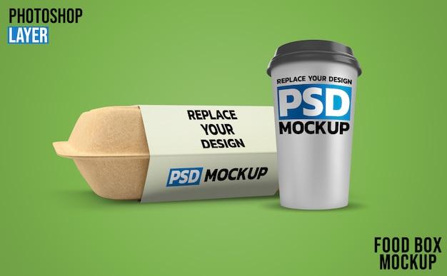 Caixas de comida e maquete de renderização 3d de xícara de café
