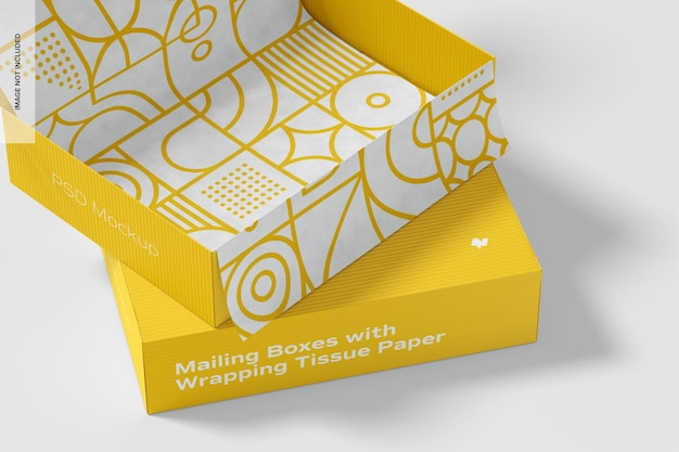 Caixas de correio com maquete de papel de embrulho, close-up