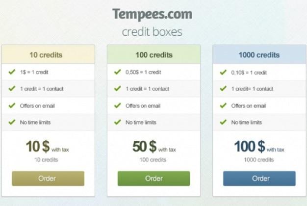 Caixas de crédito simples, com variações de cor