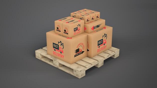 Caixas de entrega na palete
