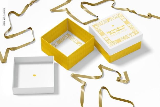 Caixas de presente grandes com modelo de fita