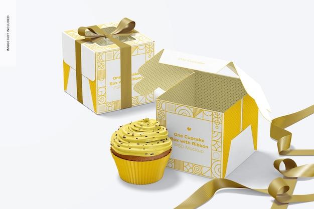 Caixas de um cupcake com modelo de fita