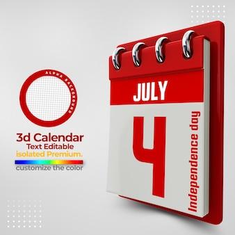 Calendário 3d para datas comemorativas psd premium