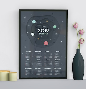 Calendário com modelo de plano de fundo do espaço