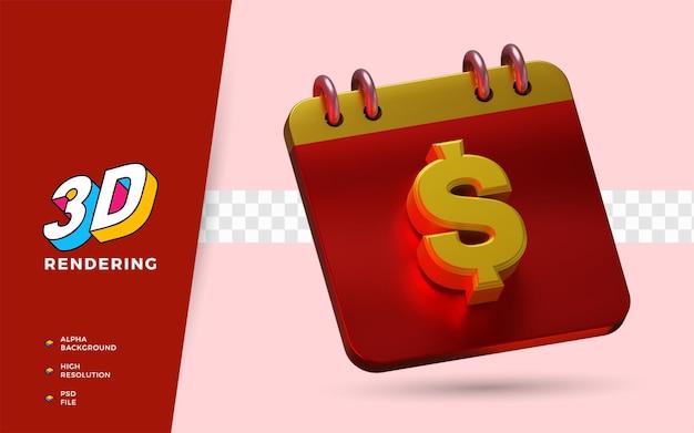 Calendário de dólar para lembrete de salário diário 3d render ilustração de símbolo isolado