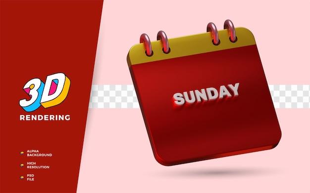 Calendário de domingo em 3d renderização de ilustrações de objetos isolados