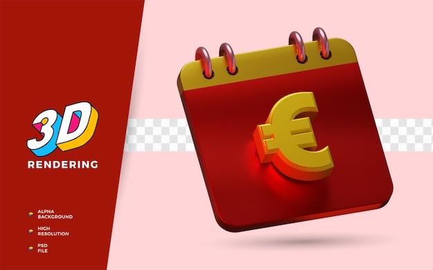 Calendário de euro para lembrete de salário diário 3d render ilustração de símbolo isolado