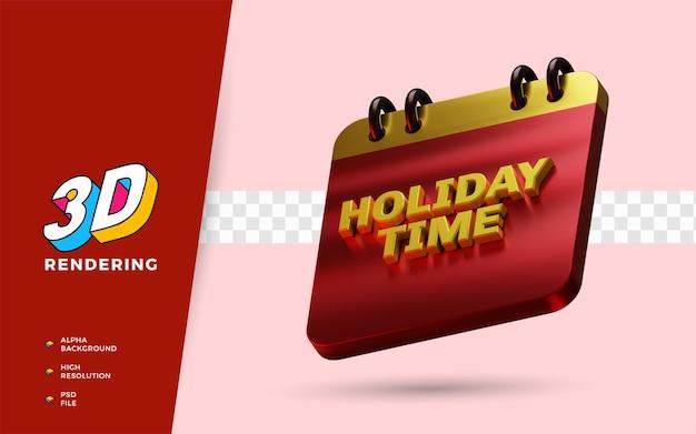 Calendário de férias 3d render ilustração de objeto isolado