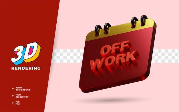 Calendário de férias fora do trabalho 3d render ilustração de objeto isolado