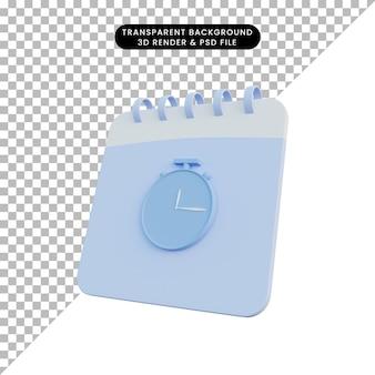 Calendário de ilustração 3d com ícone de relógio