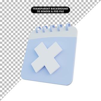Calendário de ilustração 3d com marca de cruz