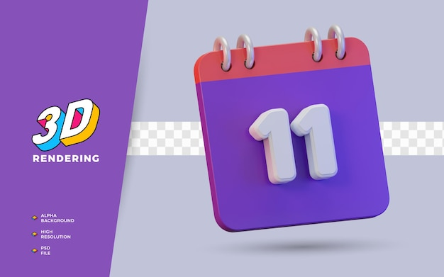 Calendário de renderização 3d de 11 dias para lembrete diário ou programação