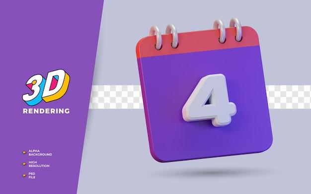 Calendário de renderização 3d de 4 dias para lembrete diário ou programação