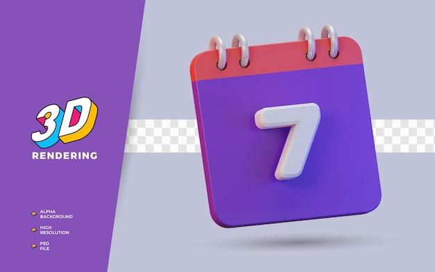 Calendário de renderização 3d de 7 dias para lembrete diário ou programação