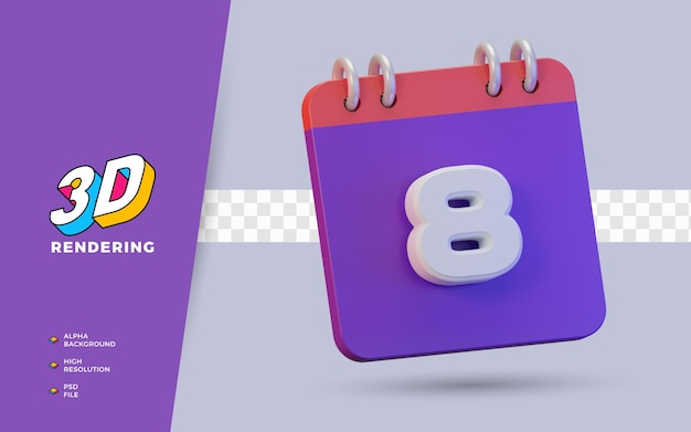 Calendário de renderização 3d de 8 dias para lembrete diário ou programação