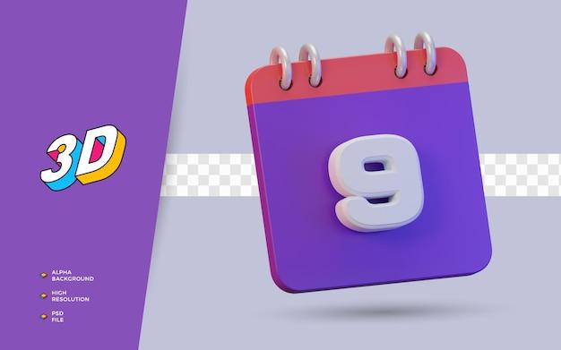 Calendário de renderização 3d de 9 dias para lembrete diário ou programação
