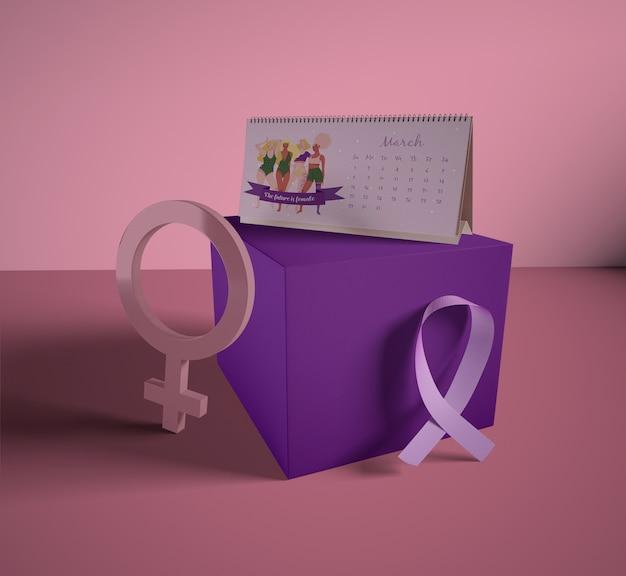 Calendário do dia da mulher com mock-up