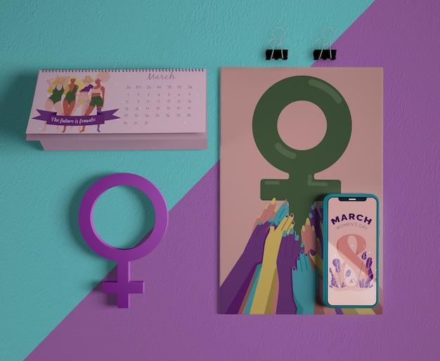 Calendário do dia internacional da mulher com maquete