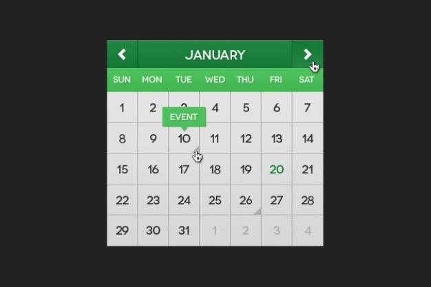 Calendário material verde psd