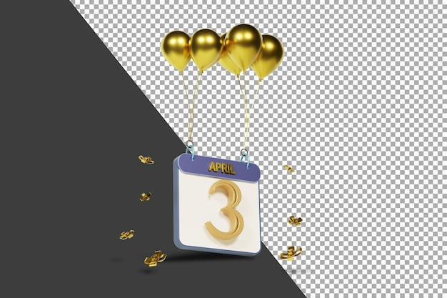 Calendário mês 3 de abril com balões dourados renderização 3d isolada