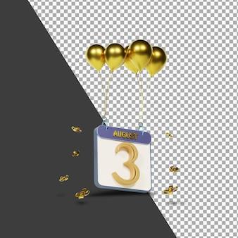 Calendário mês 3 de agosto com balões dourados renderização 3d isolada