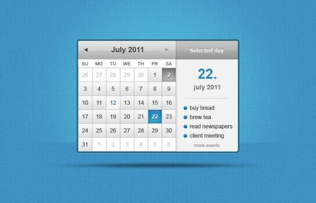 Calendário widget