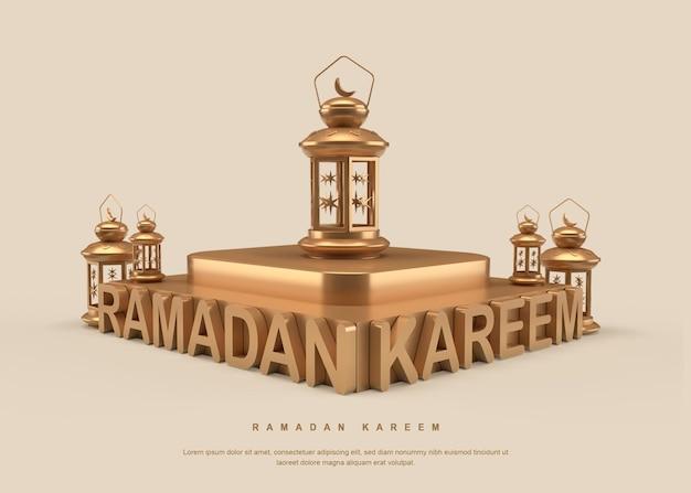 Caligrafia ramadan kareem 3d com desenho de lanterna