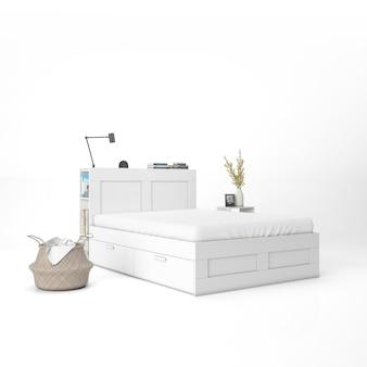 Cama com maquete de colchão branco