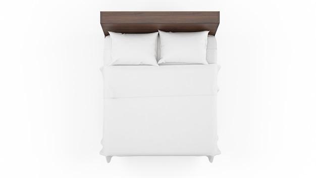 Cama de casal com moldura de madeira e lençóis brancos, isolado, vista superior