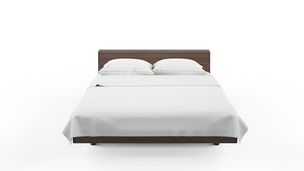 Cama de casal com moldura de madeira e lençóis brancos, isolados